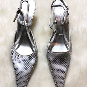 •St. John Silver With Shiny Paillette Detail Heels